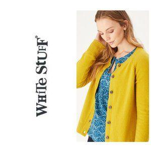 WHITE STUFF Merino Wool Mustard Yellow Cardigan